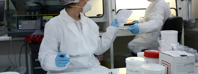 Microbiologists at the Hellenic Pasteur Institute are working at the institute's 3rd level of biosafety laboratory, which examines SARS-CoV-2, coronavirus, detection tests, in Athens, Greece, on 6 April 2020 (issued on 7 April 2020). Countries around the world are taking increased measures to stem the widespread of the SARS-CoV-2 coronavirus which causes the COVID-19 disease.