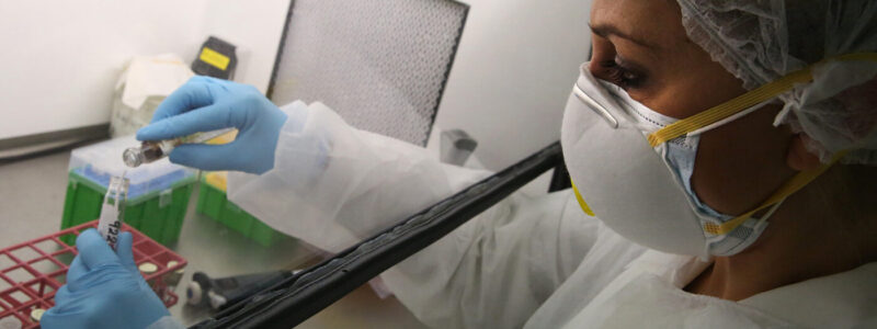 A microbiologist at the Hellenic Pasteur Institute examines at the institute's 3rd level of biosafety laboratory, SARS-CoV-2, coronavirus, detection tests, in Athens, Greece, on 6 April 2020 (issued on 7 April 2020). Countries around the world are taking increased measures to stem the widespread of the SARS-CoV-2 coronavirus which causes the COVID-19 disease.